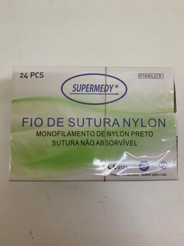 Fio De Sutura Em Nylon 3-0 Com Agulha 3,0 Cm Cx C/24 Unidade