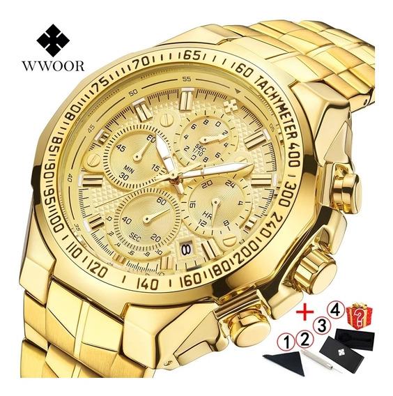 Relógio Wwoor Dourado De Luxo
