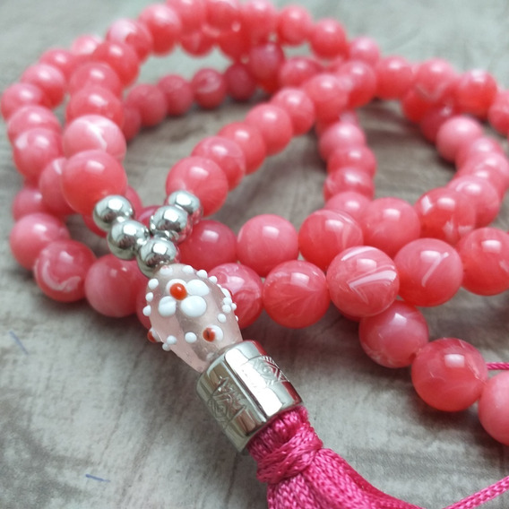 Colar Japamala Budismo Ho´oponopono 108 Contas Rosa