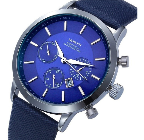 Reloj North Hombre Caballero Elegante Piel Acero Inoxidable