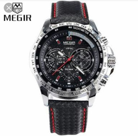 Relógio Masculino Luxo Megir Pulseira Couro