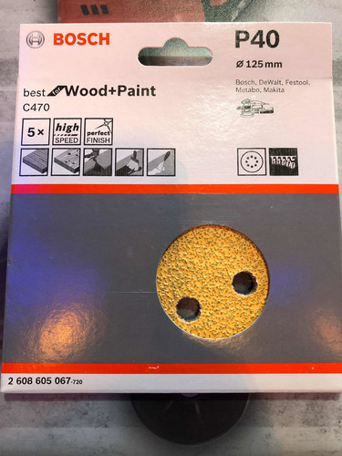 Imagen 1 de 1 de Lija Excéntrica Pintura O Madera Bosch 125mm Grano 180 5 Uni