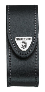 Bainha Couro Preta P/ Canivete Victorinox - Logo Metálico