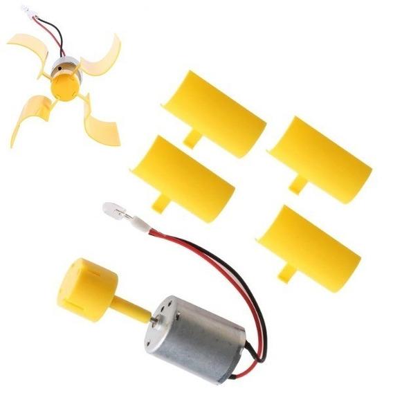 Mini Turbina Gerador Eólico Com Led E Pás P/ Fins Educativo