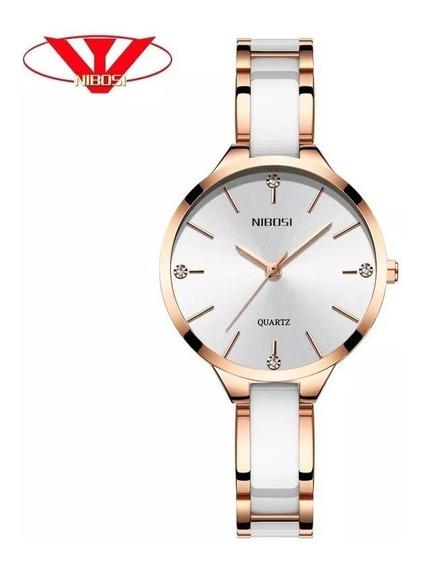 Relógio Nibosi Feminino Branco Original - Lançamento 2019