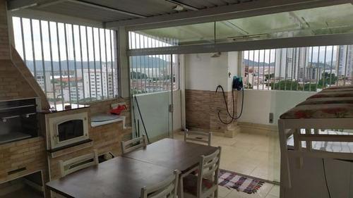 Cobertura Com 4 Dormitórios À Venda, 350 M² Por R$ 1.300.000,00 - Aparecida - Santos/sp - Co0138