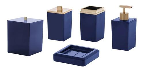 Jogo Para Banheiro Em Acrílico 5 Peças Lavabo Azul Paramount