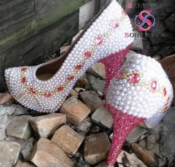 Sapato Perolado Mesclado Rosa E Branco Cinderela (noivas)