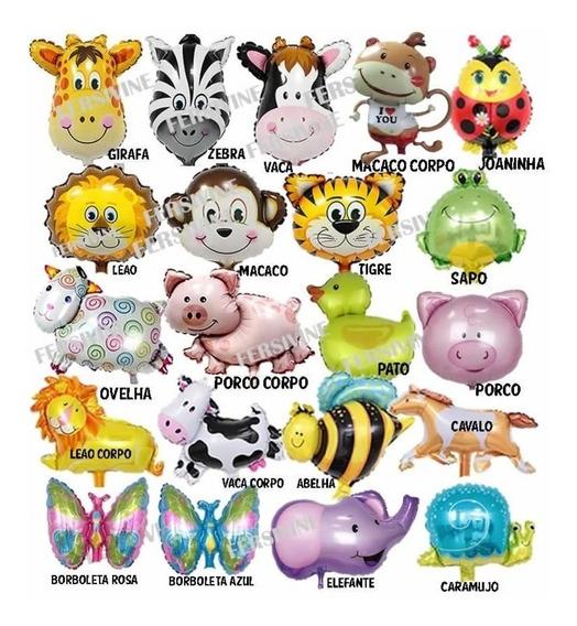 25 Balão Metalizado Safari Fazendinha Animais Festa