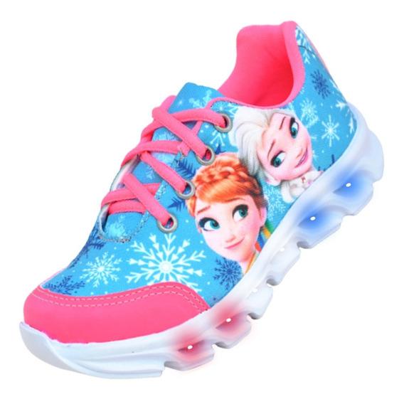 Tênis Infantil Feminino Led Frozen Personagem Lançamento