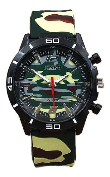 Moda De Camuflaje De Silicona Para Hombre Reloj Deportivo Gj