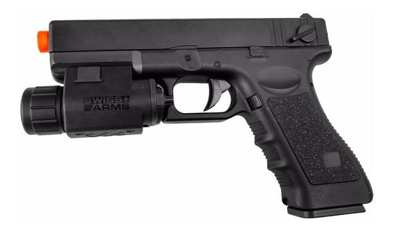 Pistola Airsoft Elétrica Cyma Glock Cm030 + Lanterna S. Arms