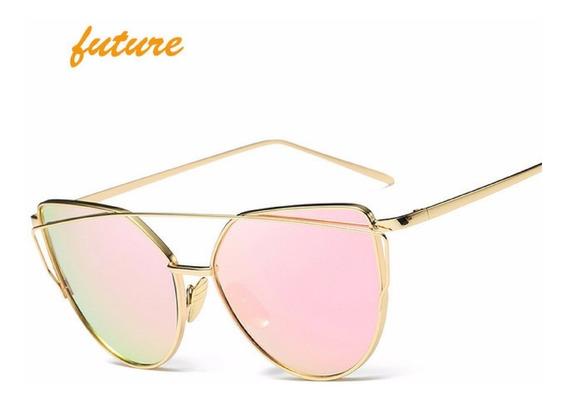 Óculos Feminino Rosé Armação Dourada Espelhado Proteção Uv