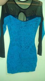 Vestido Colado Azul Com Detalhes De Tule