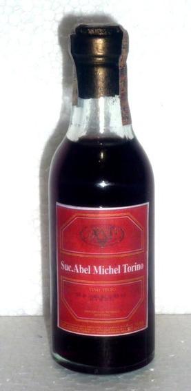 Botellita De Vidrio-vino Suc. Abel Michel Torino -etiq. Roja