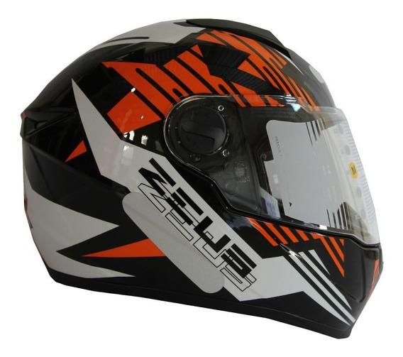 Capacete Zeus 811 Evo Top Gun Preto/laranja C/20% Desconto!