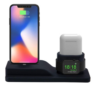 Base Carga Silicona Para iPhone Apple Watch AirPods Stand