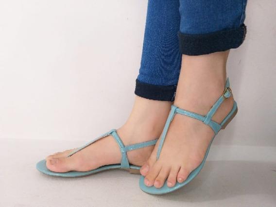 Sandália Rasteira Pistache Azul Verniz Flat Rasteirinha