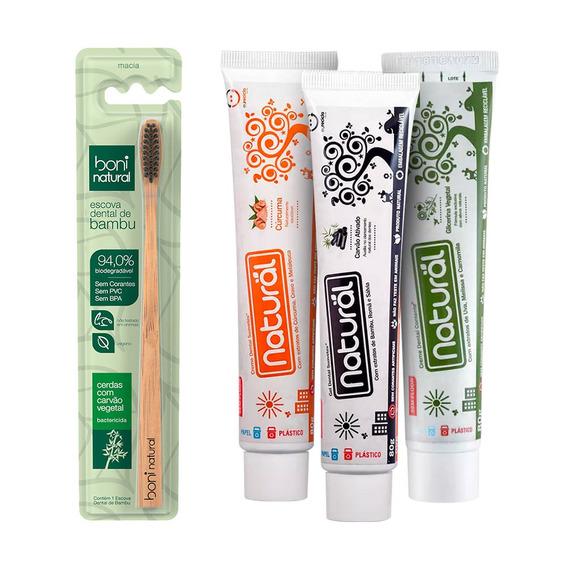 Kit Escova Dental Natural Mais 3 Pasta Dental Natural Contente Sortidas