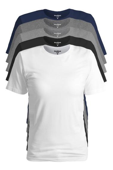 Kit 5 Blusinha Feminina Básica Camisetas Original Novastreet