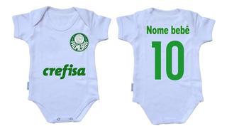 Body Infantil Nenê Personalizado Com Nome Time Palmeiras