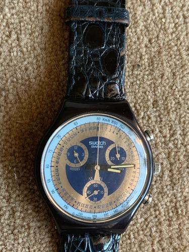Relogio Swatch,cronografico,anos 90,otimo Estado,puls.,couro