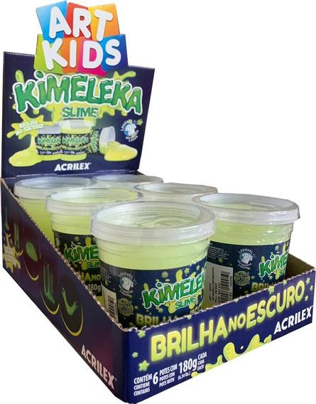 Slime Kimeleca Neon Brilha No Escuro C/6 180g Acrilex
