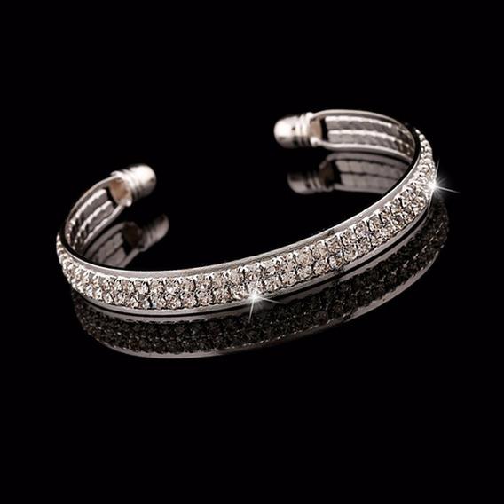 Bracelete Pulseira Feminina Banho Prata E Ouro Cristais C148