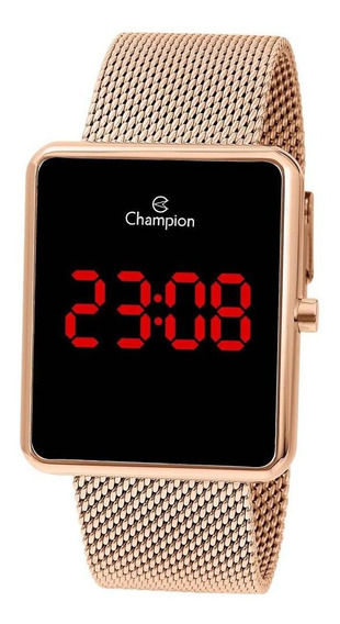 Relógio Champion Feminino Ref: Ch40080p Retangular Led Rosé