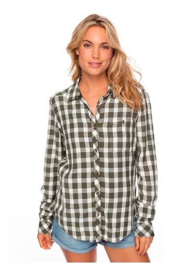 Camisa Mujer Bolsillo Frontal Manga Larga Cuadriculada Roxy