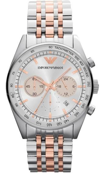 Relógio Emporio Armani Ar5999 Prata Com Dourado Rosê