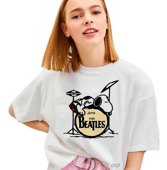 Playera Snoopy Batería The Beatles Camiseta Rocker 0137