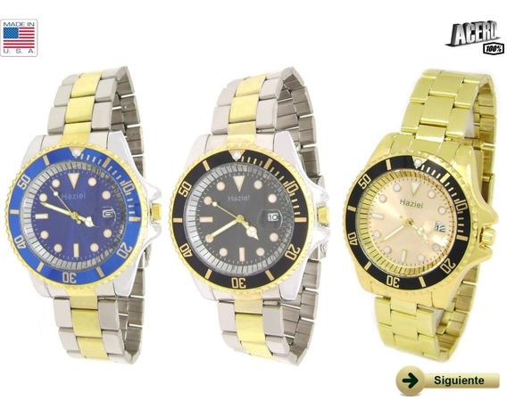 Reloj Caballero Submariner Acero C/calendario Varios Modelos
