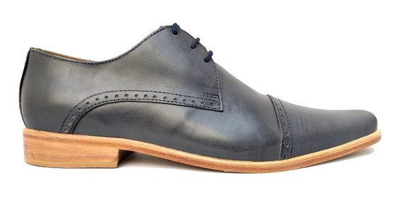 Zapato Cuero Jean Azul Acero De Hombre Vestir Casual Oferta!