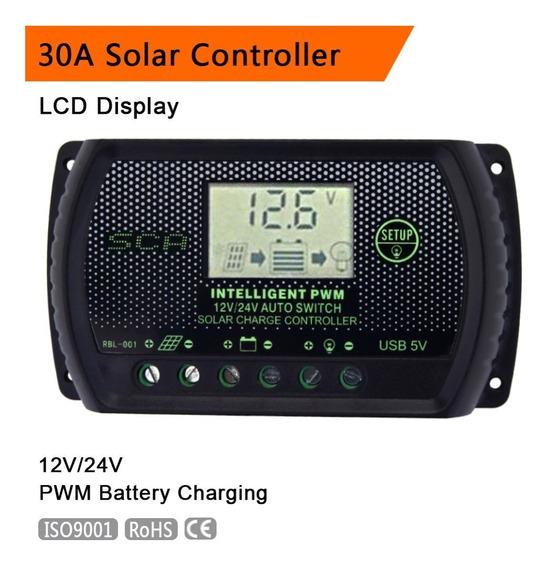 Controlador De Cargas Inteligente 30a 12/24v Painel Solar