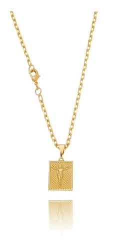 Imagem 1 de 3 de Corrente Cordão Masculino Banhada Ouro 18k Placa Cristo