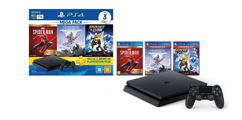 Sony PlayStation 4 Slim 1TB Mega Pack: Marvel's Spider-Man/Horizon Zero Dawn Complete Edition/Ratchet & Clank  color negro azabache