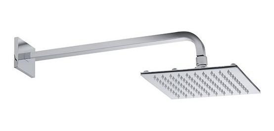 Ducha Chuveiro Slim Quadrado Metal 20x20cm Com Braço 38cm