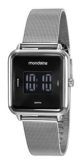 Relógio Mondaine Digital Quadrado Prata Cx E Nota
