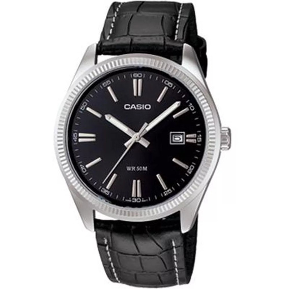 Relógio Casio - Mtp-1302l-1avdf - Leather Strap - Black Dial