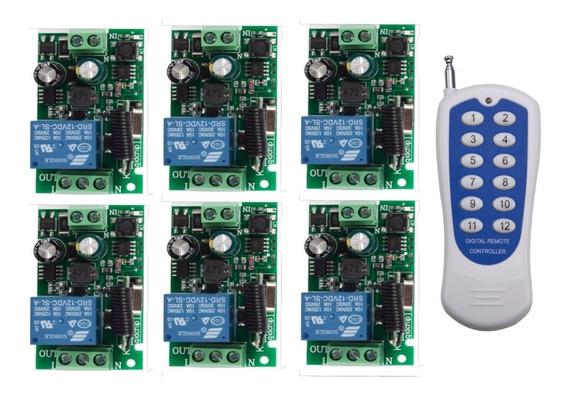 220v 6 Receptores Inalambrico 1ch + Control Remoto 12 433mhz