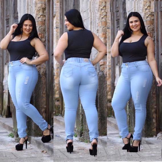 Calça Jeans Feminina Cintura Alta Com Elastano Hot Pants Plus Size