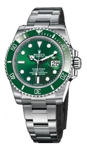 Relógio Submariner Verde Pulseira Aço Inox - Maquinario Eta