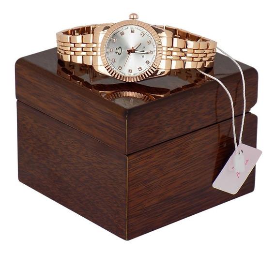 Relógio Feminino Limited Edition Com Caixa De Madeira, Colar