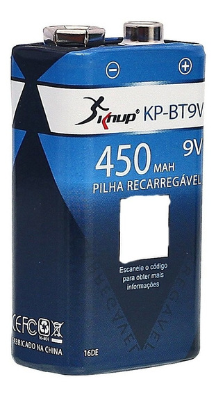 Bateria 9v Recarregável 450mah Blister Kp-bt9v
