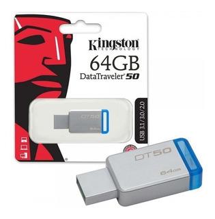 Memoria Usb 64gb 3.1 Kingston Dt50 Punta Azul