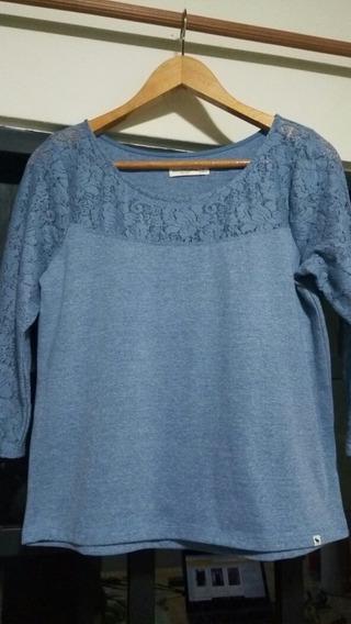 Remera Encaje/algodón Importada Abercrombie & Fitch Azulino