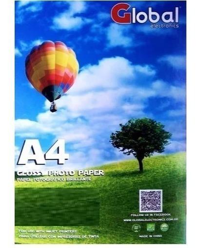 Papel Fotografico Glossy 140g A4 Brillante 50 Hojas Global