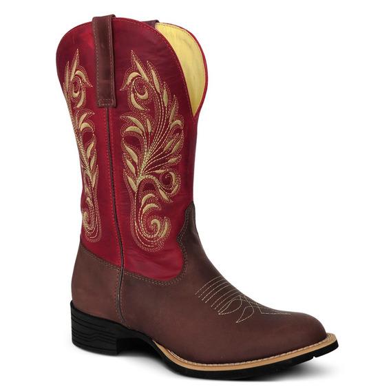 Bota Country Feminina Texana Couro Crazy Horse Cafe/vermelho
