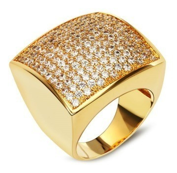 Anel Feminino Dourado Quadrado Cravejado Zirconia Luxo Festa
